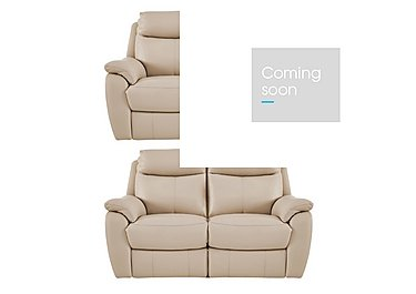 Snug Pair of 2 Seater Leather Power Recliner Sofas in Bv-862c Bisque on FV