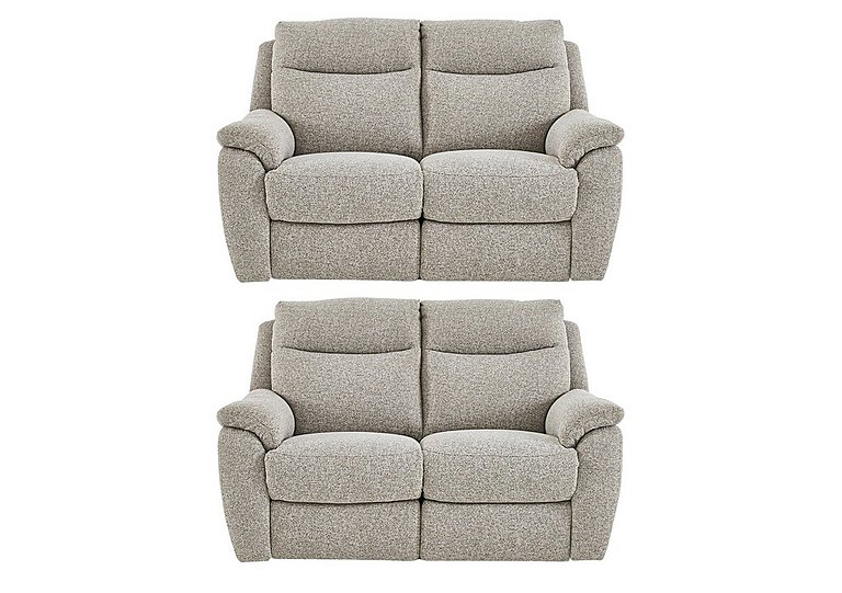 Snug Pair of 2 Seater Fabric Manual Recliner Sofas in Fab Chl-R25 Chilli Biscuit on FV