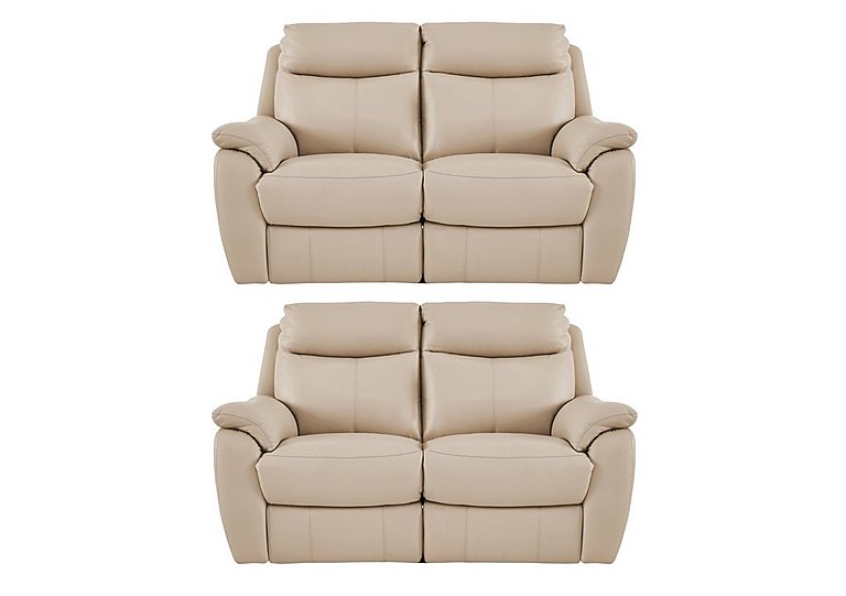 Snug Pair of 2 Seater Leather Manual Recliner Sofas
