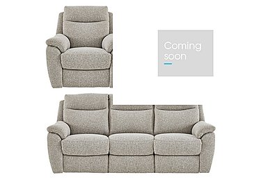 Snug Fabric Power Recliner 3 Seater Sofa and 2 Armchairs in Fab Chl-R25 Chilli Biscuit on FV