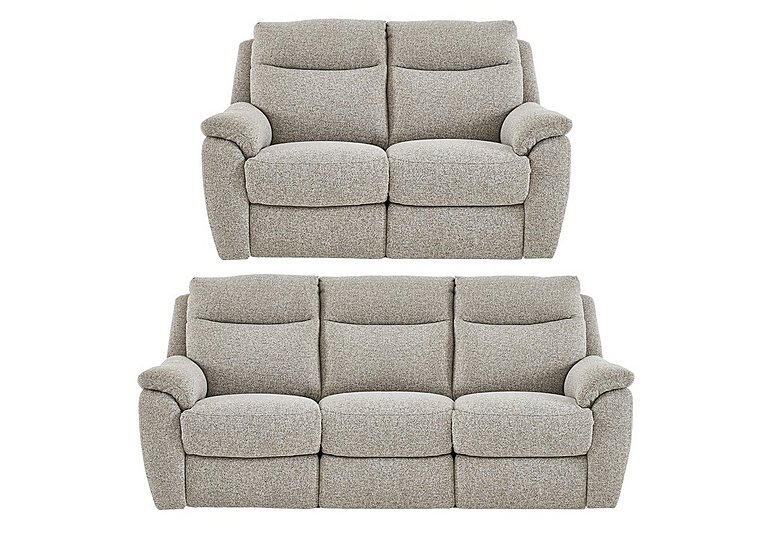 Snug 3 and 2 Seater Fabric Power Recliner Sofas in Fab Chl-R25 Chilli Biscuit on FV