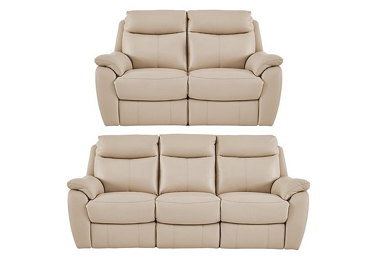 Snug 3 and 2 Seater Leather Manual Recliner Sofas