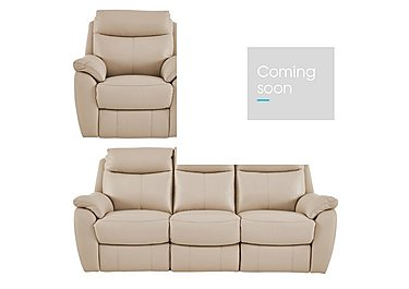 Snug Leather Manual Recliner 3 Seater Sofa and 2 Armchairs in Bv-862c Bisque on FV