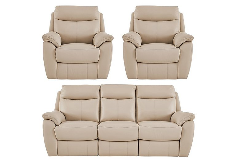 Snug Leather Manual Recliner 3 Seater Sofa and 2 Armchairs