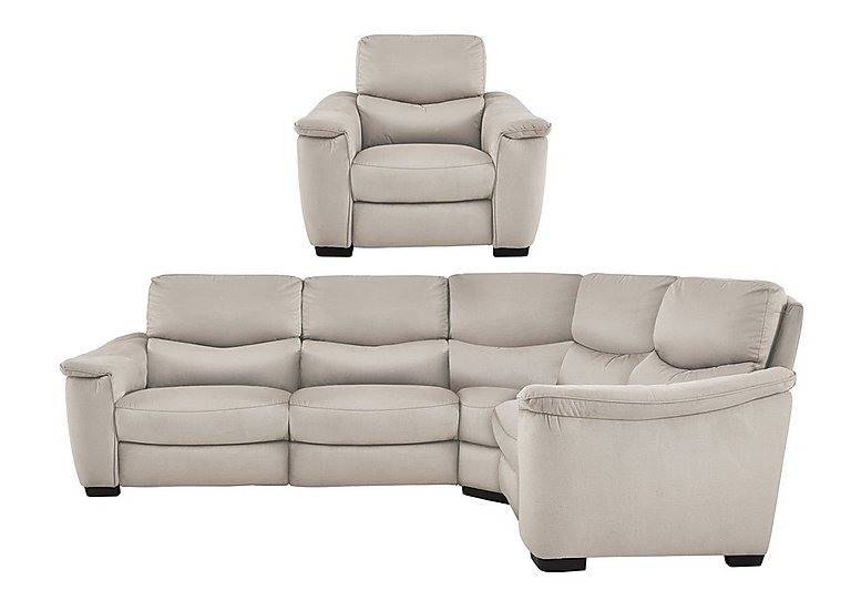 Flex Fabric Manual Recliner Corner Sofa and Armchair in Bfa-Blj Rt20 Bisque on FV