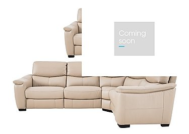 Flex Leather Power Recliner Corner Sofa and Armchair in Bv-039c Pebble on FV
