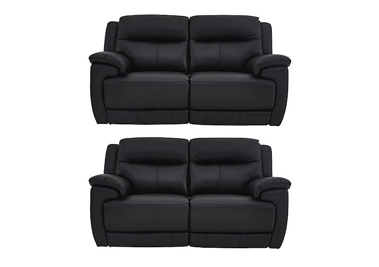 Touch Pair of Leather Power Recliner 2 Seater Sofas in Bv-3500 Classic Black on FV