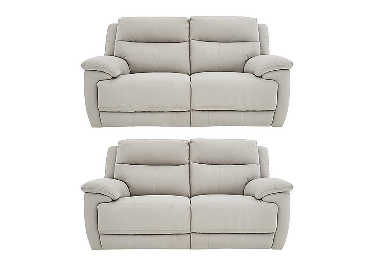 Touch Pair of Fabric Power Recliner 2 Seater Sofas