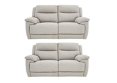 Touch Pair of Fabric Power Recliner 2 Seater Sofas in Bfa-Mad-R02 Silver Grey on FV