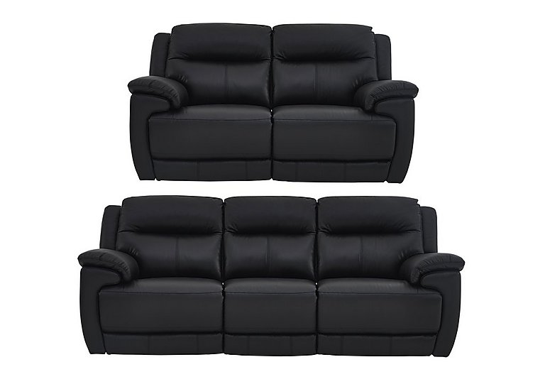 Touch 3 and 2 Seater Leather Manual Recliner Sofas