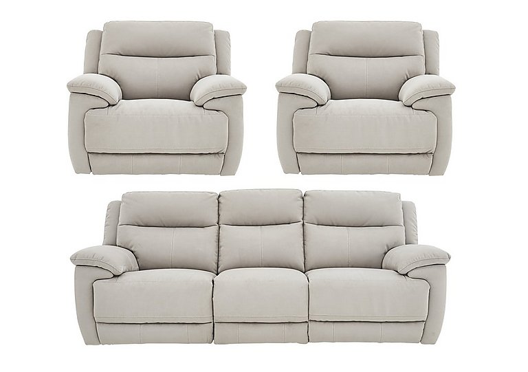 Touch Fabric Manual Recliner 3 Seater Sofa and 2 Armchairs