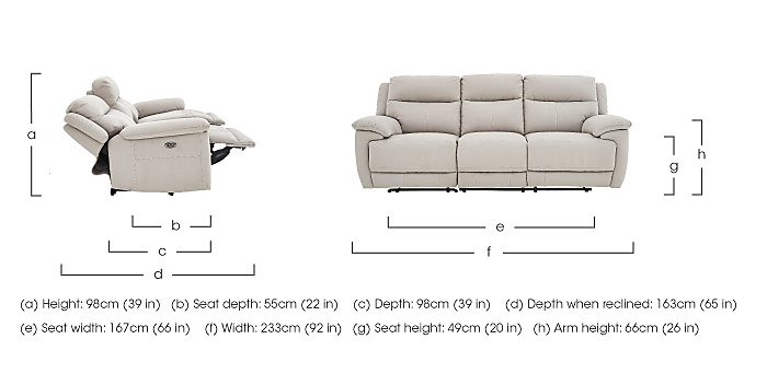 Touch Fabric Power Recliner 3 Seater Sofa and 2 Armchairs in  on FV