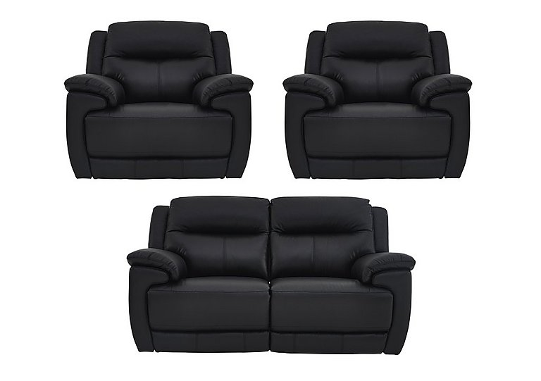 Touch Leather Manual Recliner 3 Seater Sofa and 2 Armchairs