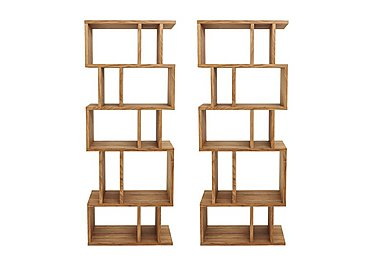Elmari Pair of Alcove Shelving Units in Light Oiled on FV