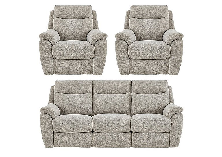 Snug Fabric Manual Recliner 3 Seater Sofa and 2 Armchairs in Fab Chl-R25 Chilli Biscuit on FV
