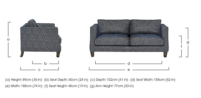 Genevieve 3 Seater Fabric Sofa with Stud Details in  on FV