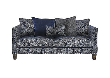 Genevieve 3 Seater Fabric Sofa with Stud Details in Garbo Damask Midnight Bg on FV