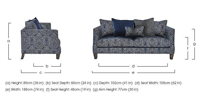 Genevieve 3 Seater Fabric Pillow Back Sofa in  on FV