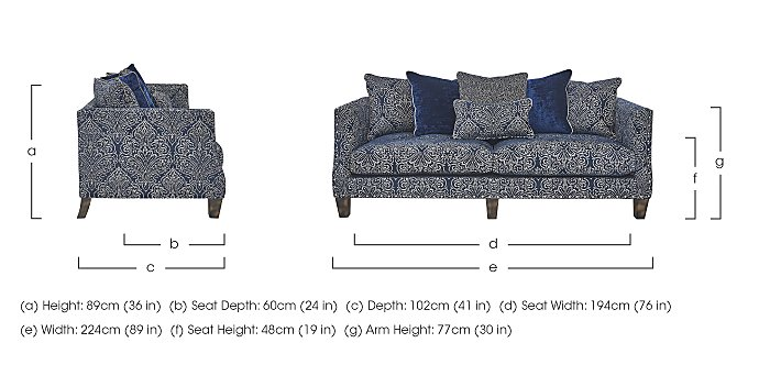 Genevieve 4 Seater Fabric Sofa with Stud Details in  on FV