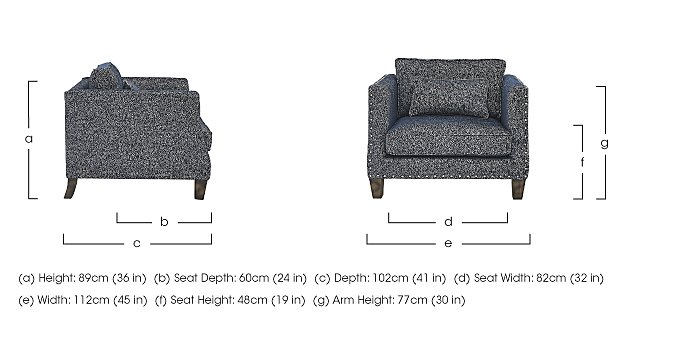 Genevieve Fabric Snuggler Armchair with Stud Details in  on FV