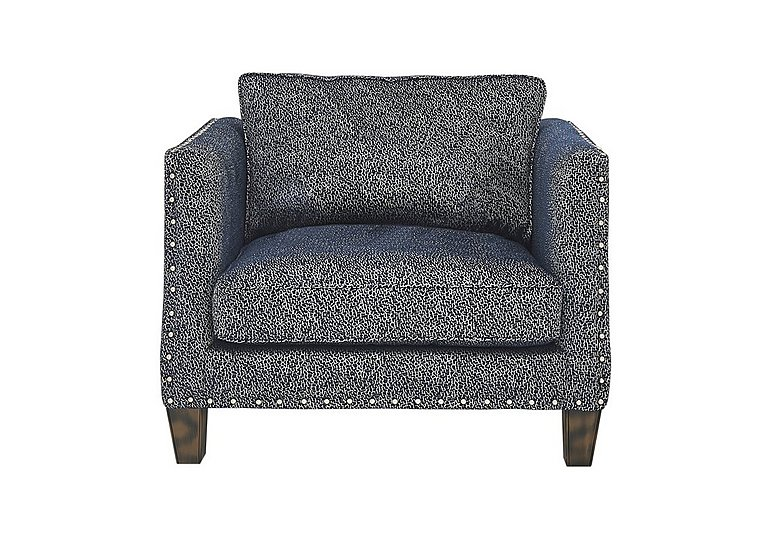 Genevieve Fabric Snuggler Armchair with Stud Details in Garbo Mosaic Midnight Bg on FV