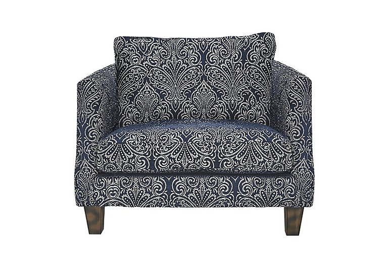 Genevieve Fabric Snuggler Armchair in Garbo Damask Midnight Bg on FV