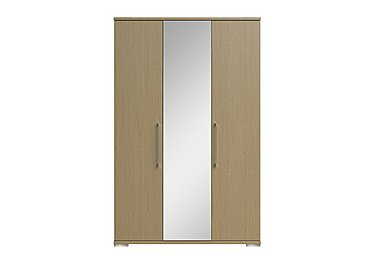 Amalfi 3 Door Centre Mirror Wardrobe in Aoov Odessa Oak/Oak Woodgrain on Furniture Village