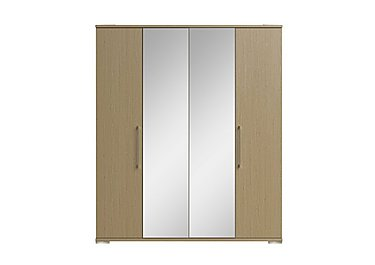 Amalfi 4 Door Centre Mirror Wardrobe in Aoov Odessa Oak/Oak Woodgrain on Furniture Village