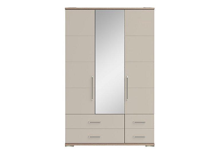 Cordoba 3 Door Centre Mirror Gents Wardrobe in Ckmv King Oak/Moonlight Gloss on Furniture Village