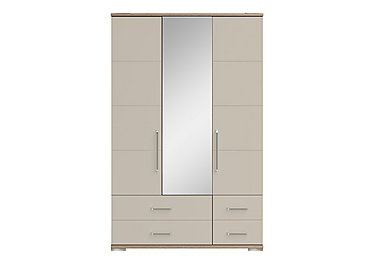 Cordoba 3 Door Centre Mirror Gents Wardrobe in Ckmv King Oak/Moonlight Gloss on FV