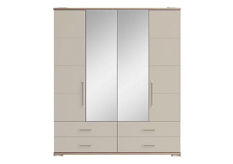 Cordoba 4 Door Centre Mirror Gents Wardrobe in Ckmv King Oak/Moonlight Gloss on FV