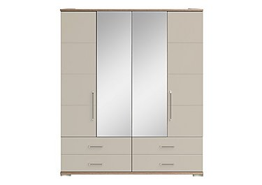 Cordoba 4 Door Centre Mirror Gents Wardrobe in Ckmv King Oak/Moonlight Gloss on FV