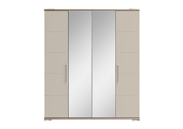 Cordoba 4 Door Centre Mirror Wardrobe in Ckmv King Oak/Moonlight Gloss on Furniture Village