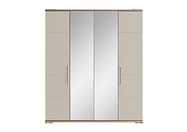 Cordoba 4 Door Centre Mirror Wardrobe in Ckmv King Oak/Moonlight Gloss on FV