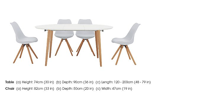 Espen Extending Oval Table 120/200cm and 4 Dining Chairs in  on FV