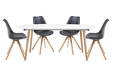Espen Extending Oval Table 120/200cm and 4 Dining Chairs in Black on FV