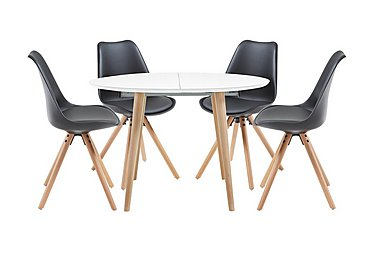 Espen Extending Round Table and 4 Dining Chairs in Black on FV