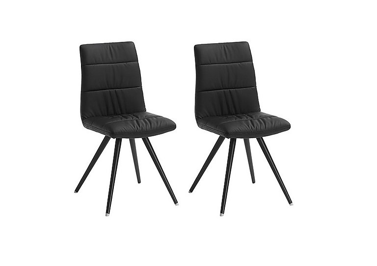 Evoque Pair of Prism Chairs in Black Pu / Black Leg on Furniture Village