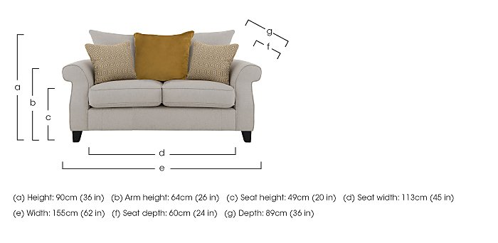 Sahara 2 Seater Fabric Pillow Back Sofa in  on FV