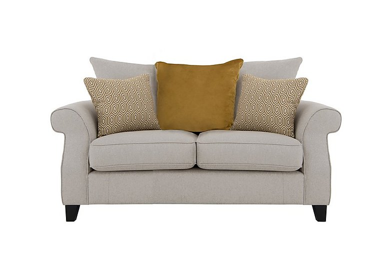 Sahara 2 Seater Fabric Pillow Back Sofa in Denbeigh Ercu Dark Feet on FV