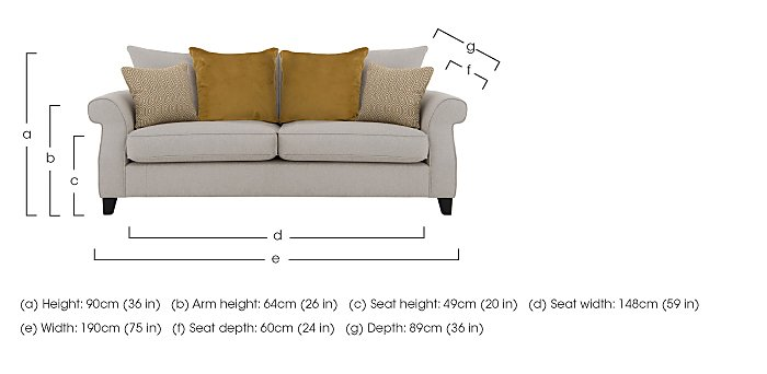 Sahara 3 Seater Fabric Pillow Back Sofa in  on Furniture Village