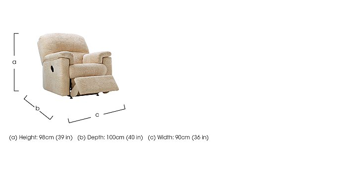 Chloe Small Fabric Recliner Armchair - Only One Left! in  on FV
