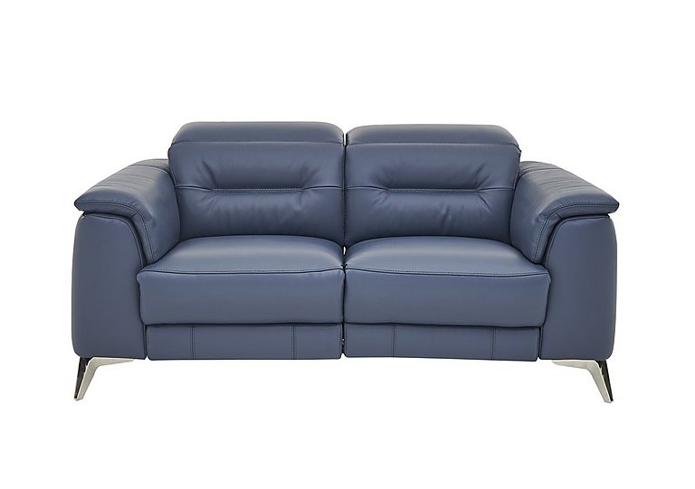 Sanza 2 Seater Leather Recliner Sofa in Bv-313e Ocean Blue on FV