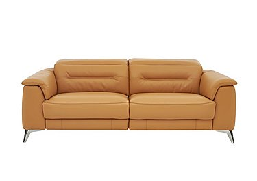 Sanza 3 Seater Recliner Leather Sofa in Nc-335e Honey Yellow on FV