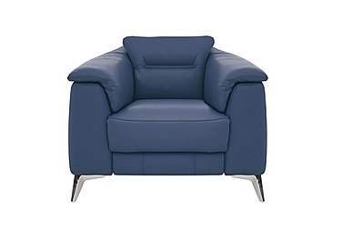 Sanza Leather Recliner Armchair in Bv-313e Ocean Blue on FV