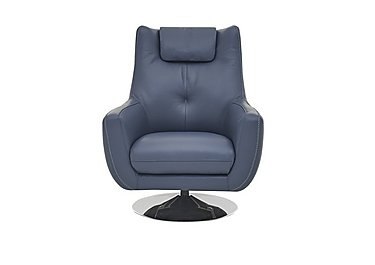 Sanza Leather Swivel Armchair in Bv-313e Ocean Blue on FV