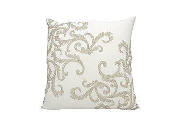 Beaded Corner Scroll Cushion in Silver on FV