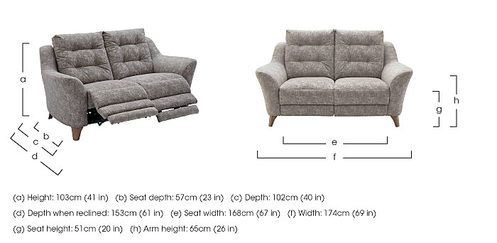 Pip 2 Seater Fabric Recliner Sofa in  on FV