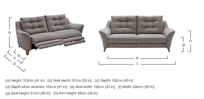 Pip 3 Seater Fabric Recliner Sofa in  on FV