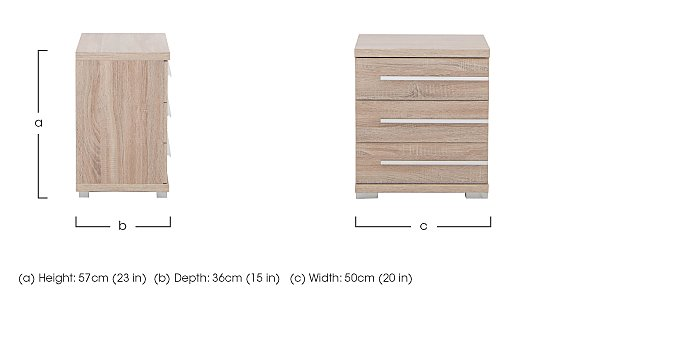 Laguna 3 Drawer Bedside Table Left Side Handles in  on FV
